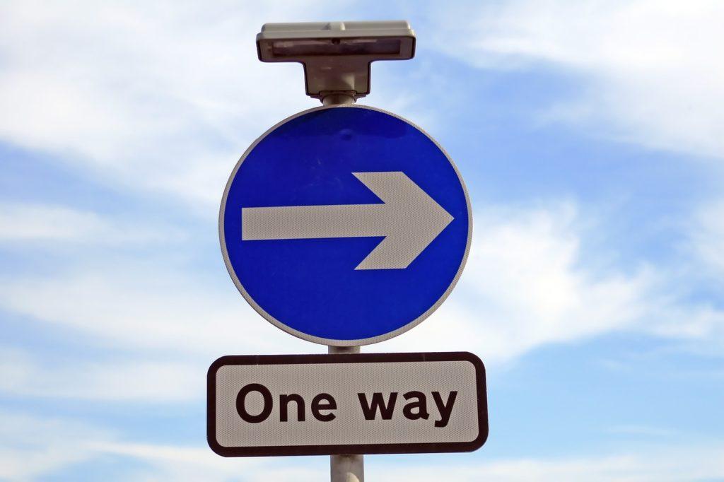 British one way road sign